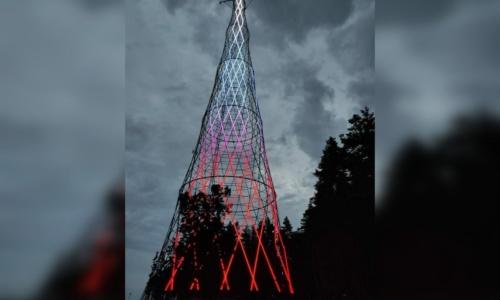 Шуховскую башню на Оке подсветили светодиодами